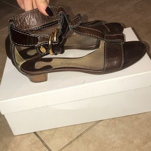 Chloe Brown Leather Sandals Size 37